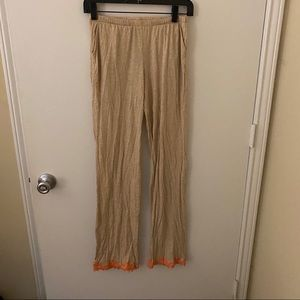 Aerie Cream Orange Lace XS Pajama Pants